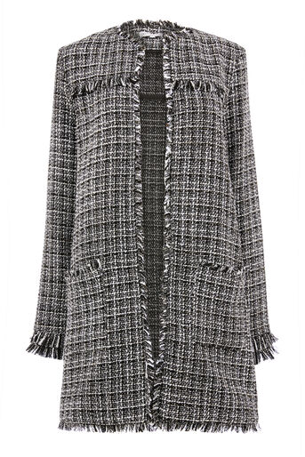 Warehouse, MONO TWEED LONG LINE JACKET Black Pattern 0