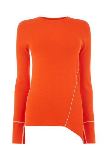 Warehouse, Asymmetrische trui met biezen Oranje 0
