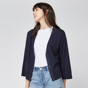 Warehouse, SPLIT CUFF POPPER CARDI Navy 4