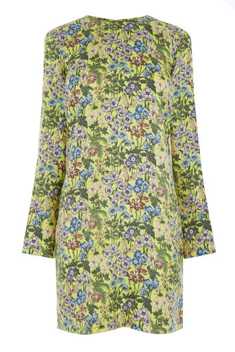 Warehouse, GARDEN POSY SILK SHIFT DRESS Yellow 0