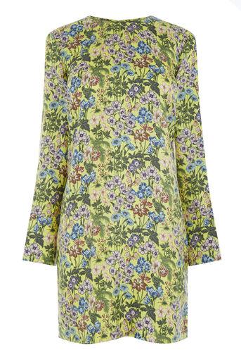 Warehouse, GARDEN POSY SILK SHIFT DRESS Yellow 0