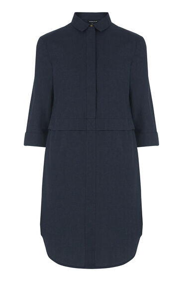 Warehouse, BRUSHED COTTON SHIRT DRESS Navy 0