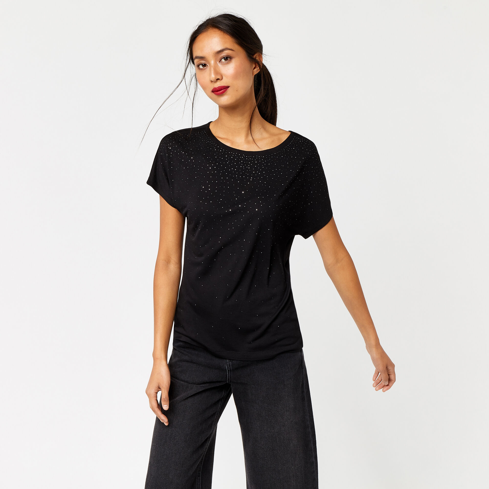 Warehouse, SCATTER EMBELLISHED TEE Black 1
