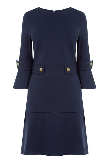 Warehouse, PONTE POPPER DRESS Navy 0