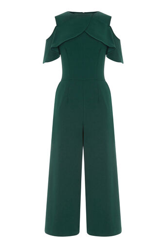 Warehouse, CREPE OVERLAY JUMPSUIT Dark Green 0