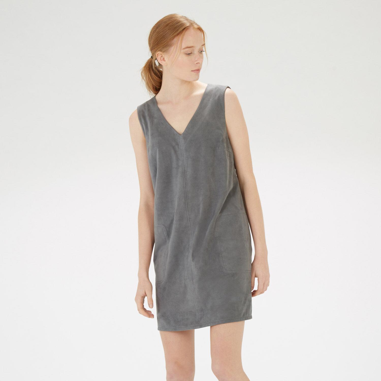 Warehouse, Suedette Pocket Shift Dress Light Grey 1