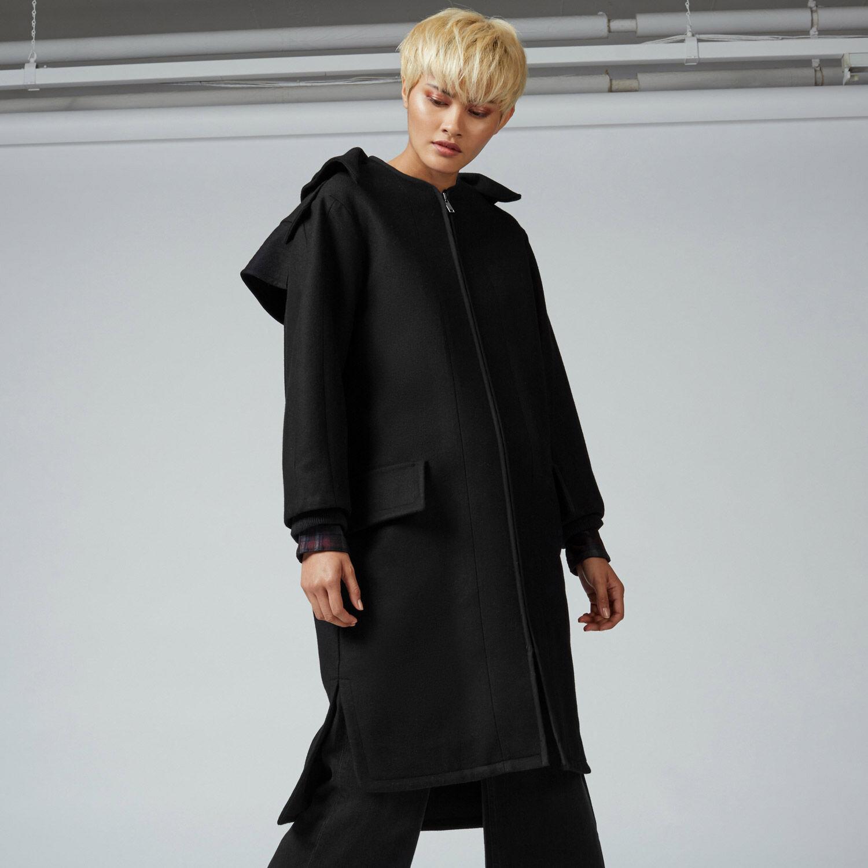 Warehouse, Oversized Hooded Coat Black 1