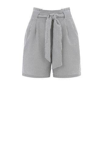 Warehouse, TEXTURED STRIPE SHORT Black Stripe 0