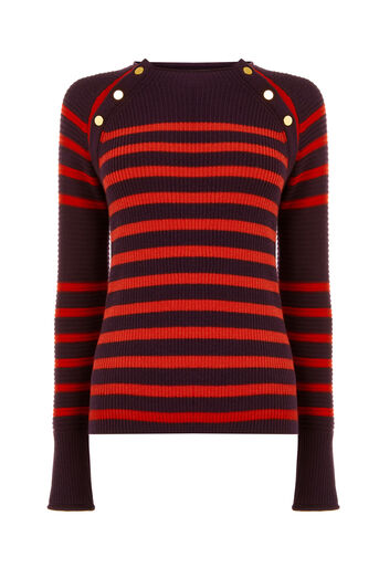 Warehouse, BUTTON DETAIL STRIPE JUMPER Dark Red 0