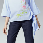 Warehouse, ROSE EMBROIDERED TIE SIDE TOP Light Blue 4