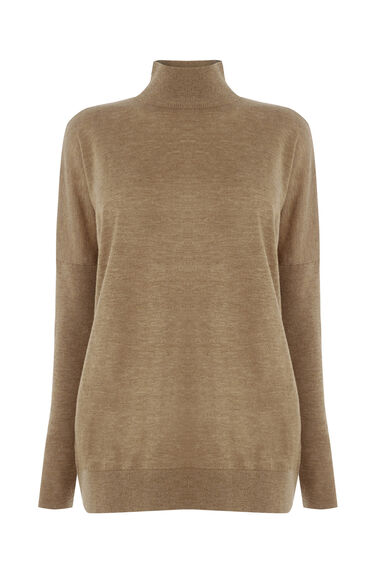 Warehouse, SUPER BOXY TURTLE NECK JUMPER Camel 0