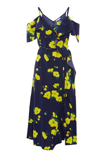 Warehouse, DELIA FLOWER FRILL WRAP DRESS Blue Pattern 0