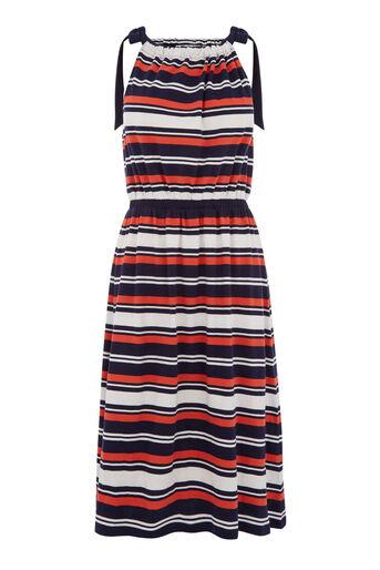 Warehouse, Gestreepte jurk met gestrikte schouders Blauwe streep 0