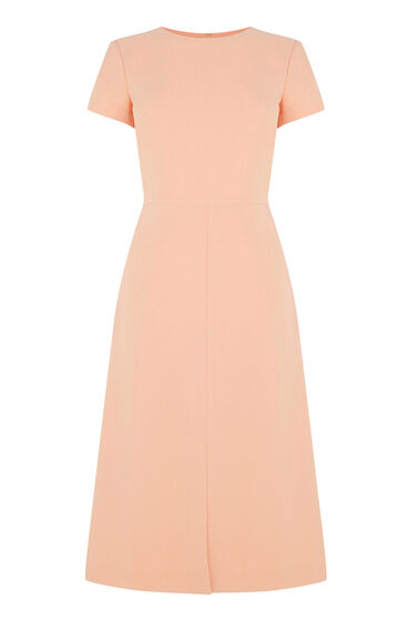 Warehouse, SPLIT FRONT MIDI DRESS Light Pink 0