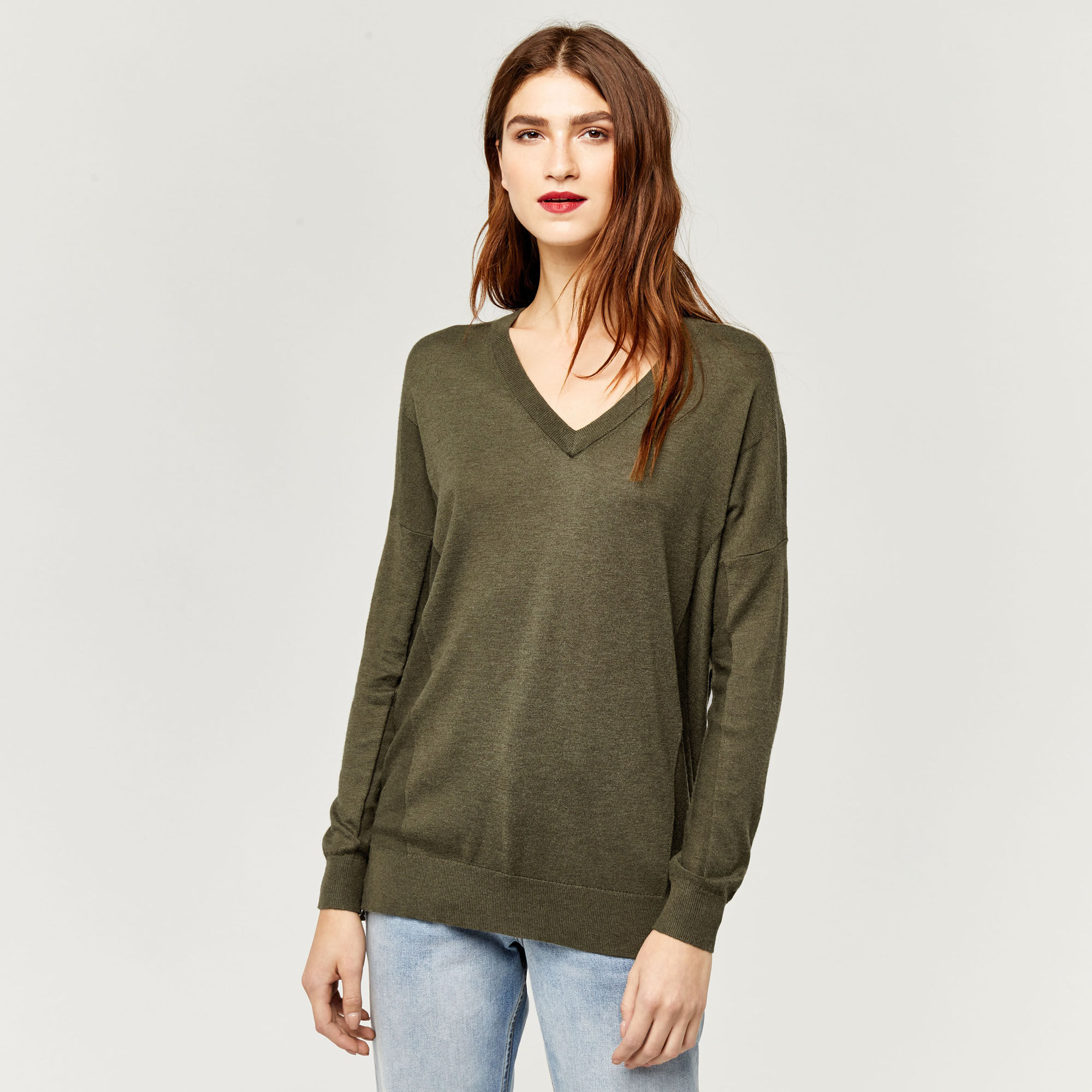 Warehouse, V NECK LONG LINE JUMPER Khaki 1