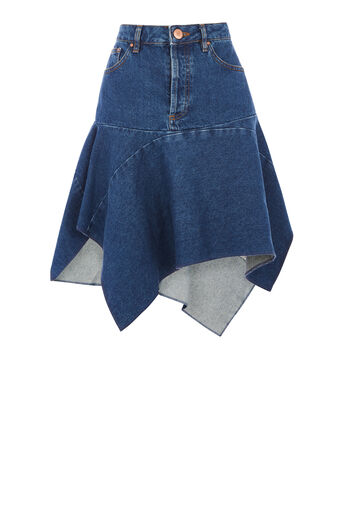 Warehouse, Cut Out Asymmetric Skirt Mid Wash Denim 0