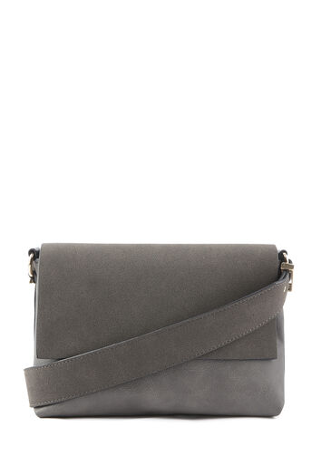 Warehouse, MATERIAL MIX CROSSBODY BAG Dark Grey 0
