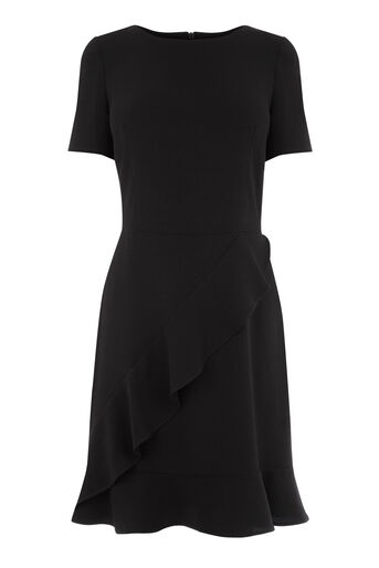 Warehouse, RUFFLE FRONT DRESS Black 0