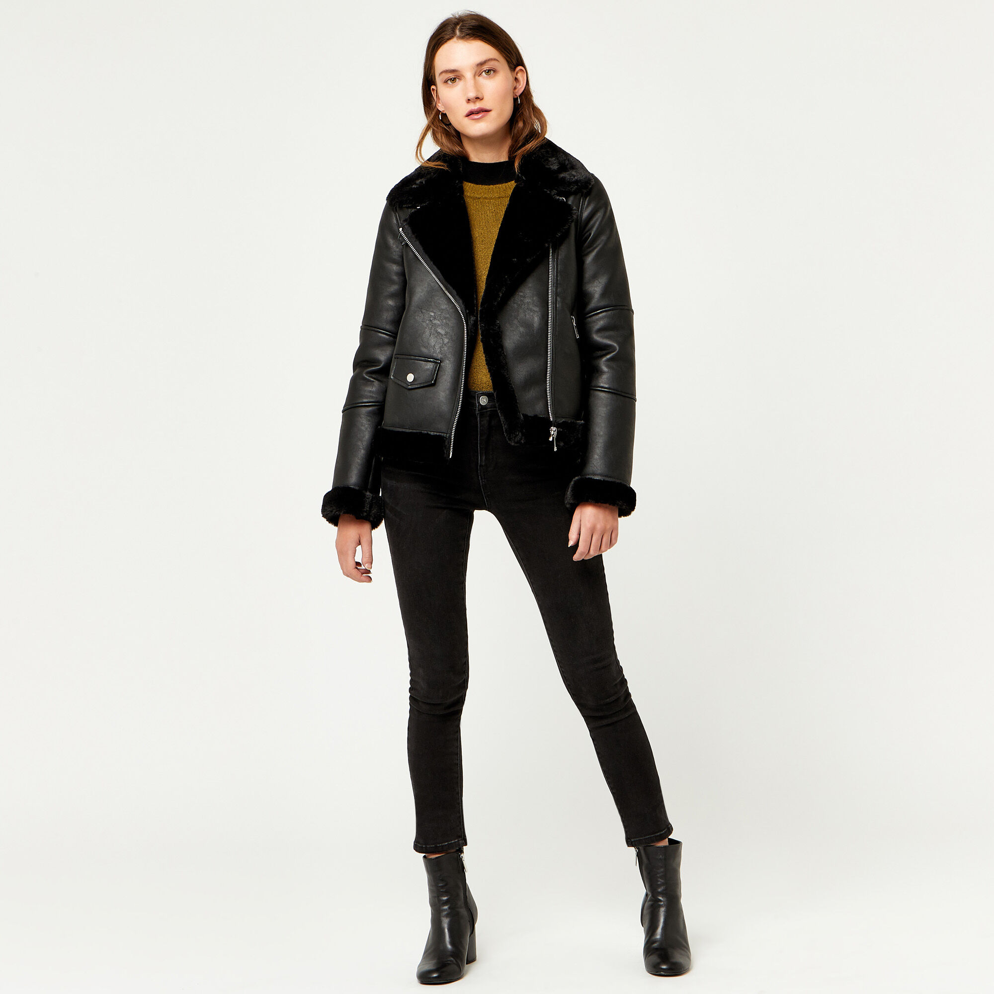 Warehouse, FAUX LEATHER BONDED BIKER Black 1