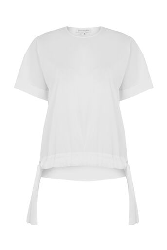 Warehouse, COTTON RUCHED HEM TOP White 0