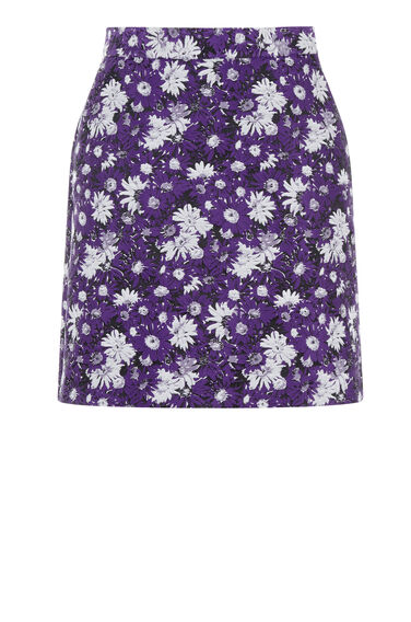 Warehouse, ASTER JACQUARD FLORAL SKIRT Purple Pattern 0