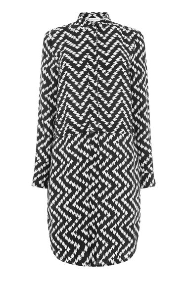 Warehouse, CHEVRON PRINT SHIRT DRESS Black 0