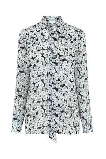 Warehouse, DAISY TIE NECK BLOUSE Neutral  Print 0