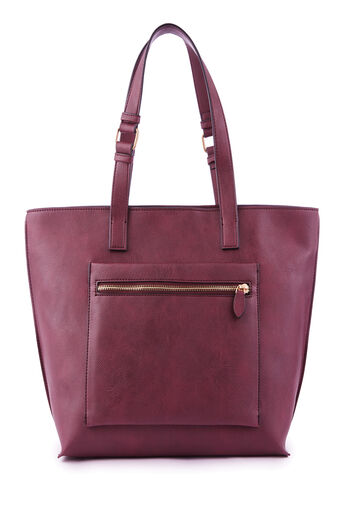 Warehouse, DOUBLE ZIP POCKETSHOPPER BAG Berry 0
