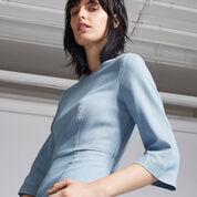 Warehouse, CLEAN FIT AND FLARE DRESS Light Wash Denim 4