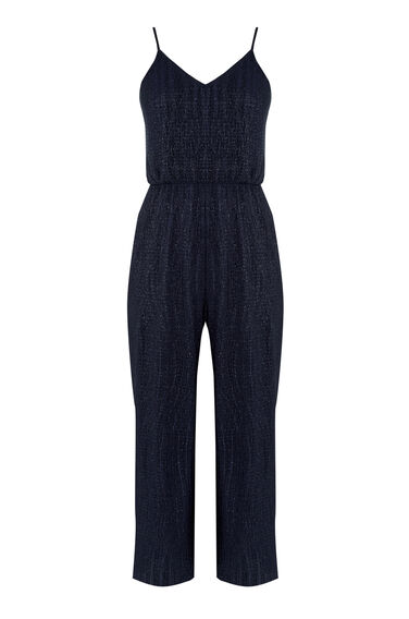 Warehouse, GLITTER PLISSE JUMPSUIT Navy 0