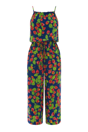 Warehouse, STRAWBERRY PRINT JUMPSUIT Blue Pattern 0