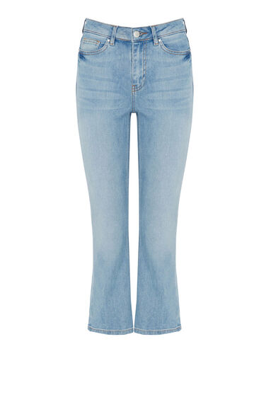 Warehouse, Cropped Kick Flare Light Wash Denim 0