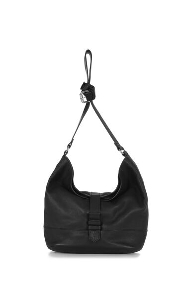 Warehouse, Leather Buckle Slouchy Bag Black 0