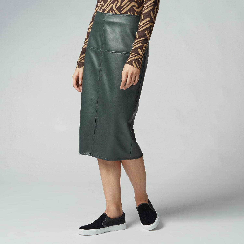 Warehouse, Faux Leather Pencil Skirt Khaki 1
