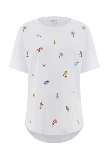Warehouse, Casual T-shirt Freida met borduursels Wit 0