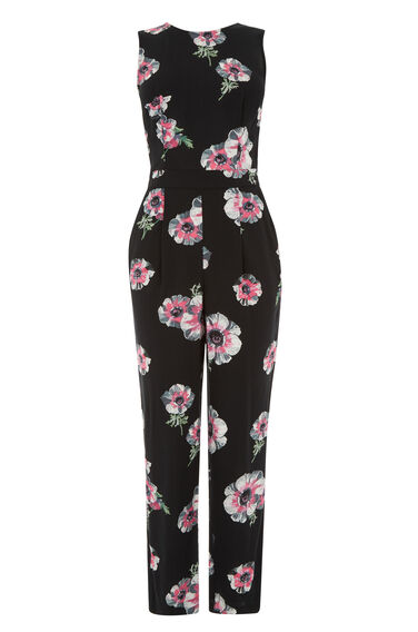 Warehouse, OCEAN FLORAL JUMPSUIT Black Pattern 0