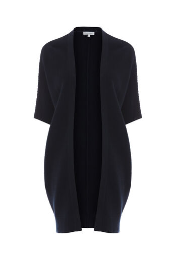 Warehouse, RIBBED LONGLINE CARDI Navy 0