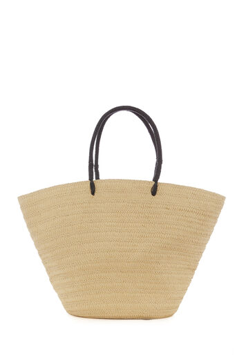 Warehouse, STRAW BASKET TOTE BAG Beige 0