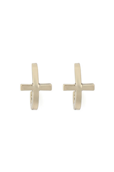 Warehouse, GOLD PLATED CROSS  EARRINGS Gold Colour 0