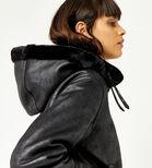Warehouse, Faux Leather Hooded Biker Black 3