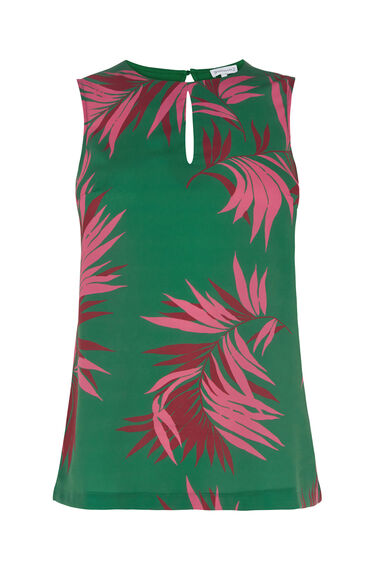 Warehouse, GRAPHIC PALM WOVEN FRONT TOP Green Print 0