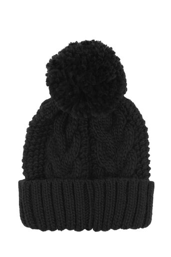 Warehouse, CABLE KNIT HAT Black 0
