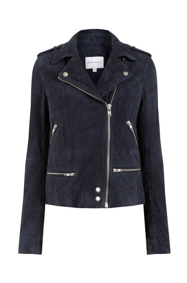 Warehouse, Suede Biker Jacket Midnight 0