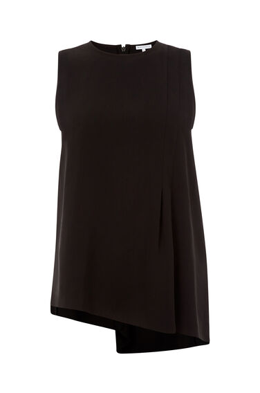 Warehouse, PLEAT FRONT SHELL TOP Black 0