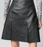 Warehouse, Faux Leather Knee Length Skirt Black 4