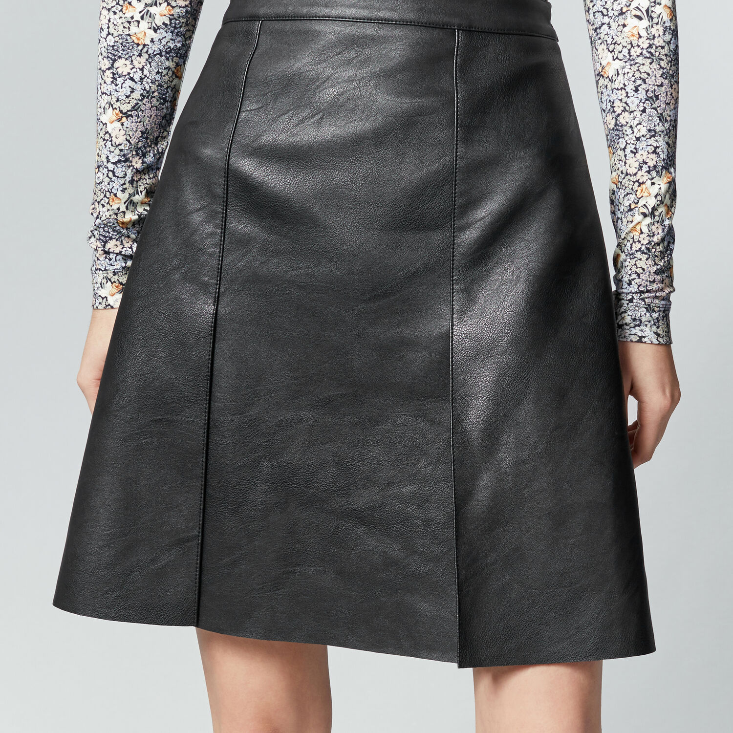 faux leather knee length skirt warehouse