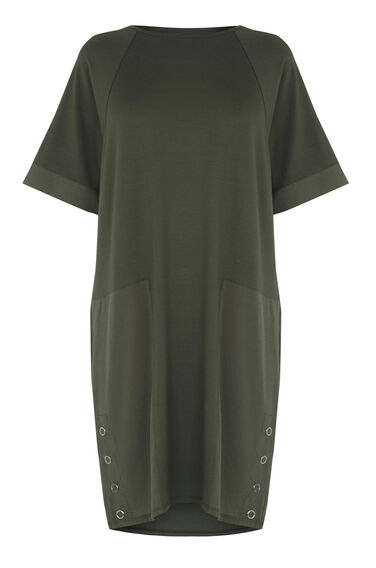 Warehouse, WOVEN MIX PANEL DRESS Khaki 0