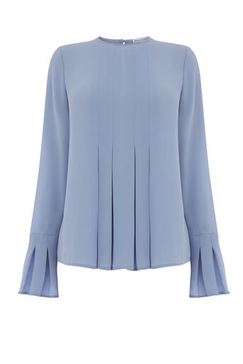 Warehouse, DOUBLE PLEAT TOP Light Blue 0