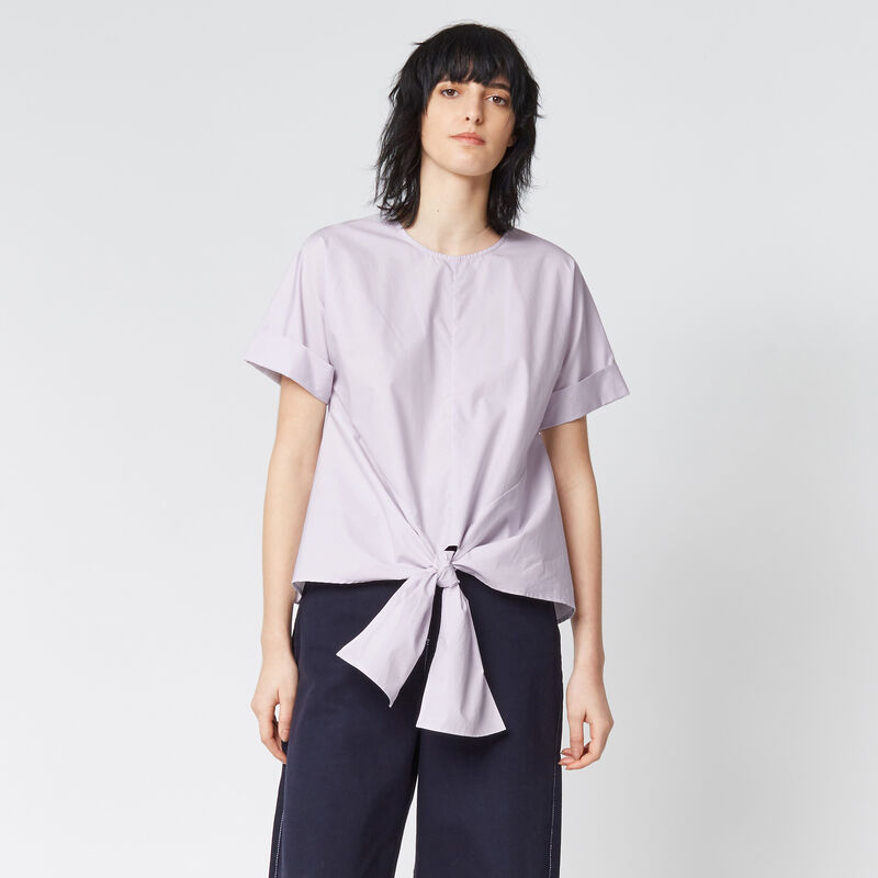 Warehouse, TIE FRONT COTTON TOP Lilac 1