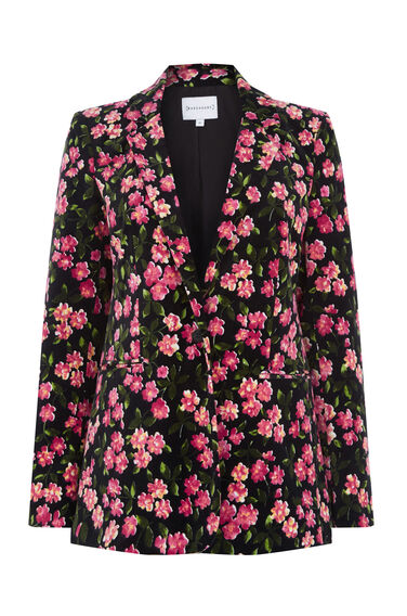 Warehouse, CHERRY BLOSSOM VELVET JACKET Pink Pattern 0